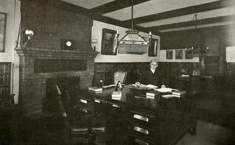 Thomas Dixon Junior at work in his library in New York, circa 1915. Image from the North Carolina Digital Collections.