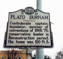 Photograph of Plato Durham Historical  Marker in Shelby.  Courtesy of the North Carolina Highway Historical Marker Program, N.C. Office of Archives & History, N.C. Department of Cultural Resources.