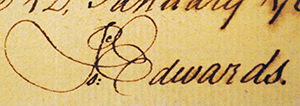 Isaac Edwards' signature from warrant dated January 12, 1768. Image courtesy of Tryon Palace.