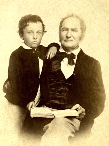 A photograph of Weldon N. Edwards with his wife's great-nephew Marmaduke J. Hawkins, Sr. Image from the North Carolina Museum of History.