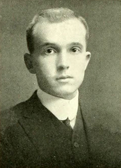 A photograph of Kenneth Raynor Ellington from the 1913 University of North Carolina yearbook. Image from the Internet Archive.