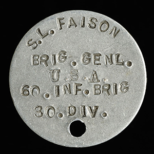 """Nametag, Accession #: H.1919.19.3."" 1918. North Carolina Museum of History."