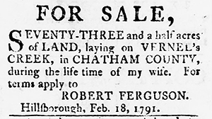 [advertisement]. North-Carolina Chronicle; or Fayetteville Gazette 2, no. 25 (February 28, 1791). 198.