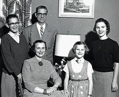 """Judge Robert C. Finley and family."" Photograph. 1958. Susan Parish Photograph Collection, 1889-1990. Washington State Archives."