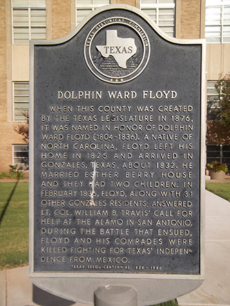A photograph of the Dolphin Ward Floyd historical marker in Floyd County, Texas. Image from Flickr user Nicolas Henderson.