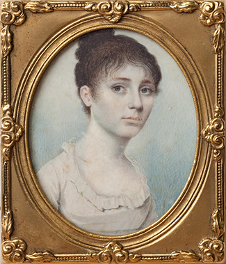 Miniature portrait of Hannah McClure Gaston, circa 1805-1813. Image from Tryon Palace.