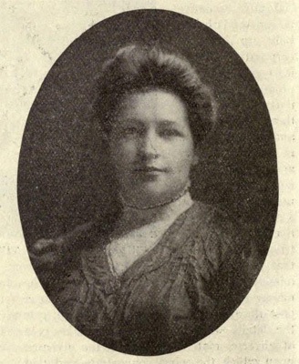 Photograph of Mrs. Hannibal Godwin, circa 1908.  In the <i>National Magazine Vol. XXIX,</i> 1909.  From Archive.org.