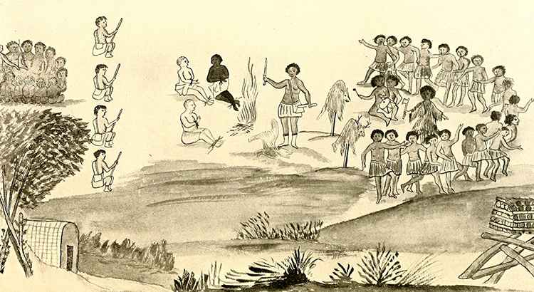 A drawing of Baron Christoph Von Graffenried and John Lawson held captive by the Tuscarora Indians. The drawing has been variously attributed to Baron Christoph Von Graffenried and Frantz Ludwig (Francis Louis) Michel. Image from Archive.org.