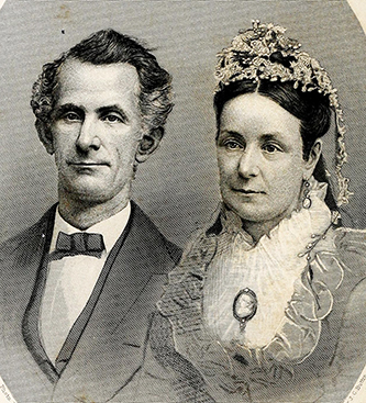 An 1878 engraving of James Grant, III and his wife Elizabeth Brown Leonard Grant. Image from Archive.org.
