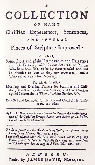 The title page of the 1961 facismile edition of Clement Hall's 1753 book. Image courtesy the N.C. Goverment and Heritage Library.