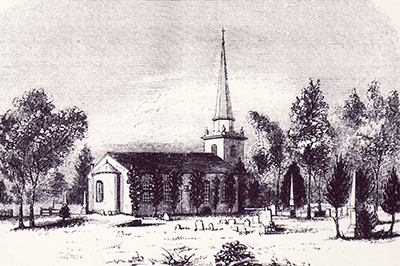 An engraving of St. Paul's Church, Edenton, based on an 1857 drawing. Image courtesy the N.C. Government and Heritage Library.