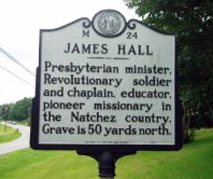 Photograph of the James Hall Highway Marker. Courtesy of the N.C. Highway Historical Marker Program, Office of Archives & History.