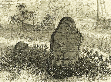 An engraving of Cornelius Harnett Jr's grave. Image from the New York Public Library Digital Gallery.
