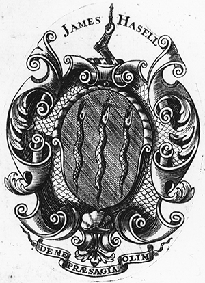 Armorial bookplate of James Hasell. Image from the North Carolina Collection Photographic Archives, The Wilson Library, University of North Carolina at Chapel Hill.