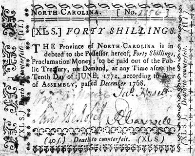 A North Carolina forty shilling bill signed by James Hasell, 1768-1771. Image from the North Carolina Museum of History.
