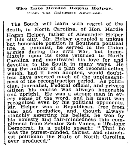 Obituary of Hardie Hogan Helper, from the Baltimore American, printed in the <i>New York Times</i> September 21, 1899.