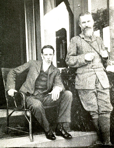 Professor Archibald Henderson (left) circa 1911 with playright George Bernard Shaw on whom he wrote three biographies. Image from Archive.org.