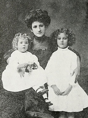 "Minna Curtis ""Barbara"" Bynum, wife of Archibald Henderson, posing with two of her children, circa 1914. Image from the North Carolina Digital Collections."