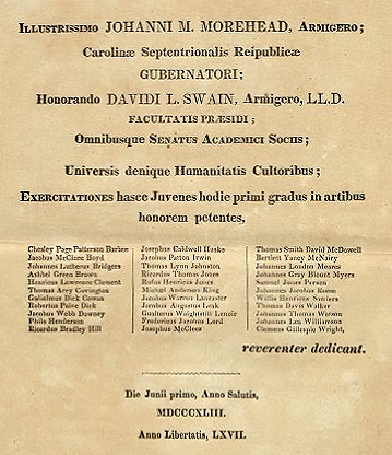 Commencement program for the University of North Carolina, June 1, 1843 (in Latin). Philo Henderson is listed tenth in the left most column. Image from Documenting the American South, University of North Carolina at Chapel Hill.