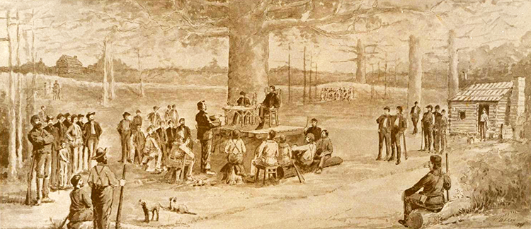 Artist's interpretation of the May 1775 meeting of the Transylvania House of Delegates at Boonesborough (1901). Image from the North Carolina Museum of History.