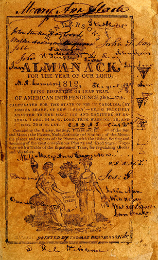 A heavily annotated Henderson's Almanack for 1812. Image from Archive.org/University of North Carolina at Chapel Hill.