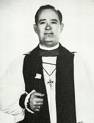 """The Rt. Rev. Matthew George Henry, D.D., Bishop of the Diocese of Western North Carolina."" Photograph. Facing 4. Historical sketch of Calvary Episcopal Church. Fletcher, N.C: Calvary Parish. 1959."