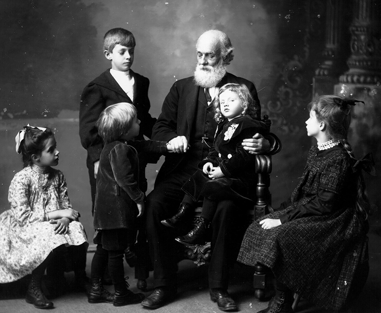 "Snyder, Frank R. ""Andrew Dousa Hepburn with his grandchildren 1903."" Photograph. Oxford, Ohio. 1903-11. Photographs of Frank R. Snyder. Miami University Archives, Oxford, Ohio."
