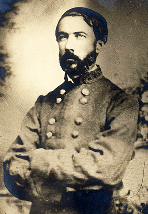 A photograph of Daniel Harvey Hill in confederate uniform. Image from the University of Arkansas.