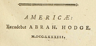 The imprint of Abraham Hodge from the title page of Synopsis Nosologiae Methodicae, a 1783 medical text in Latin. Image from Archive.org.
