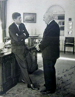 Photograph of Luther H. Hodges with President John F. Kennedy. Image from the North Carolina Museum of History.