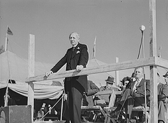 Governor Clyde R. Hoey speaking at the Caswell County Fair, October 1940. Image from the Library of Congress.