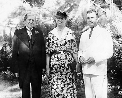 Governor Clyde Roark Hoey (left) with Mrs. Eleanor Roosevelt and an unidentified man at the Strawberry Festival at Wallace, N.C., June 11, 1937. Image from the North Carolina Museum of History.