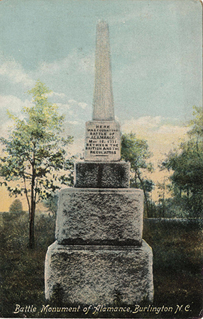 "Postcard of the Battle Monument of Alamance, Burlington, N.C., showing the inscription: ""Here was fought the Battle of Alamance, May 16, 1771, between the British and the Regulators."" Image from University of North Carolina at Chapel Hill."