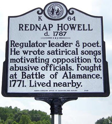 Rednap Howell's mile marker is located at Deep River west of Ramseur in Randolph County. Photo is courtsey from North Carolina Highway Historical Marker Program.