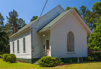 Photograph of historic Whitaker's Chapel in Enfield, NC, by C.E. Couchman, published on Wikimedia Commons, CC-BY-SA 3.0 license.  James Hunter attended the historic 1828 organizational meeting of the North Carolina Methodist Protestant Church at Whitaker's.
