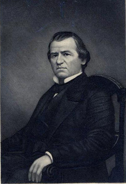 Photograph of an engraved portrait of Andrew Johnson, made circa 1900-1920, published by C. Bohn.  From the collections of the N.C. Museum of History.