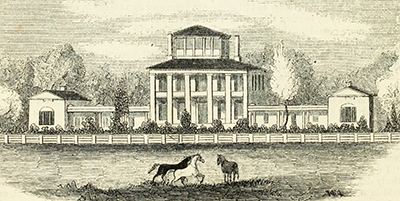 An engraving of James Cathcart Johnston's mansion, 1857. Image from Archive.org.