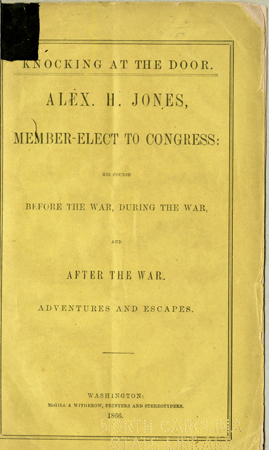 "Title page of Alexander H. Jones's ""Knocking at the Door,""  published 1866.  From the collections of the Government and Heritage Library, State Library of North Carolina."