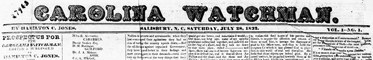 Jones, Hamilton Chamberlain. [Masthead]. Carolina Watchman. July 28, 1932. North Carolina Digital Collections.