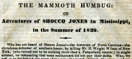 Article about Shocco Jones from 1840. Image from the North Carolina Collection, University of North Carolina at Chapel Hill.