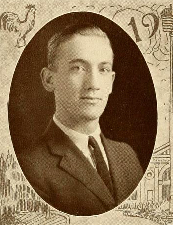 Senior portrait of Charles Edward Jordan, from the Trinity College yearbook <i>The Chanticleer,</i> 1923.  Image courtesy of the Duke University Archives, presented on DigitalNC.