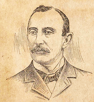 An engraving of Michael Hoke Justice published circa 1897. Image from the Braswell Memorial Library, Rocky Mount, N.C.