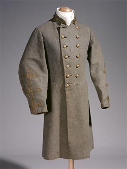 Confederate military uniform, non-regulation colonel, worn by Colonel John R. Lane.  Item H.1914.243.1 from the North Carolina Museum of History.  Used courtesy of the North Carolina Department of Cultural Resources.