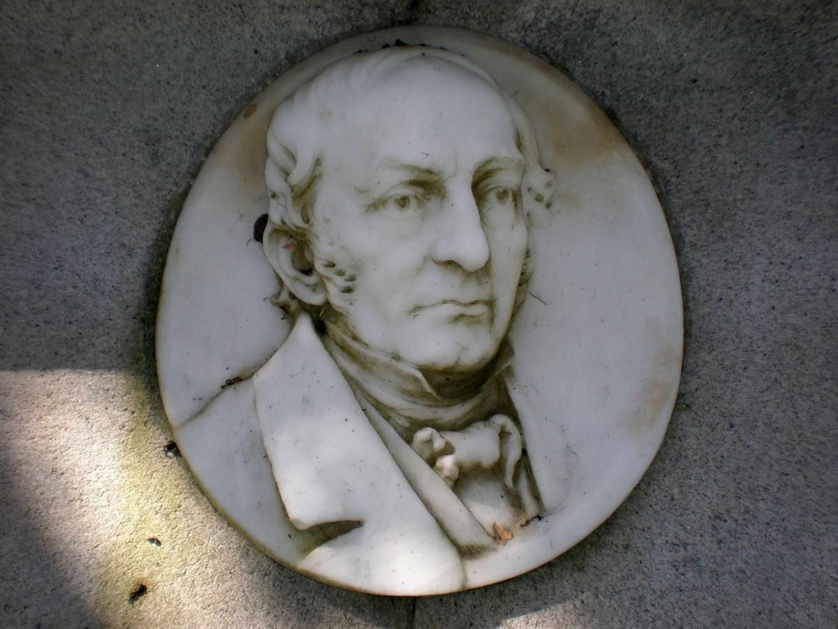 Photographic image of bas relief of James O. Larkin grave in Cypress Lawn Memorial Park in Colma, California.  Image by BrokenSphere, Wikimedia Commons.  Used under Creative Commons license CC BY-SA 3.0.