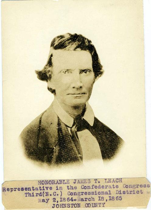 Portrait of James T. Leach, Representative in the Confederate Congress. Item H.1914.347.11 from the collections of the North Carolina Museum of History. Image used courtesy of the North Carolina Department of Cultural Resources.