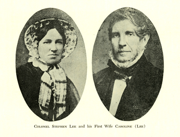 """Colonel Stephen Lee and His First Wife Caroline (Lee)."" Photographic portraits from Thomas Carpenter Read's <i>The Descendants of Thomas Lee of Charleston, South Carolina, 1710-1769,</i> published 1964 by R. L. Bryan Company, Columbia, SC.  From the collections of the Government & Heritage Library, State Library of North Carolina.  (The images are undated and unattributed in Read's genealogy.)"