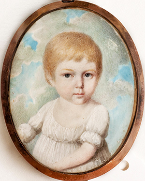 "A miniature portrait of Richard Dobbs Spaight's future wife, Mary ""Polly"" Jones Leech as a child. Image from Tryon Palace."