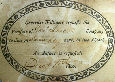 An invitation from Governor Benjamin Williams to William Lenoir, 1800. Image from the North Carolina Museum of History.