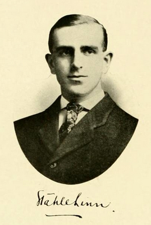Senior portrait of Stahle Linn, from the 1907 University of North Carolina yearbook <i>The Yackety Yack,</i> Volume VII, p. 48, published by the Literary Societies and Fraternities, University of North Carolina, Chapel Hill, North Carolina.