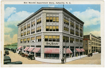 """Bon Marche Department Store, Asheville, NC.""  Postcard image from the Durwood Barbour Collection of North Carolina Postcards (P077), Wilson Library, University of North Carolina."